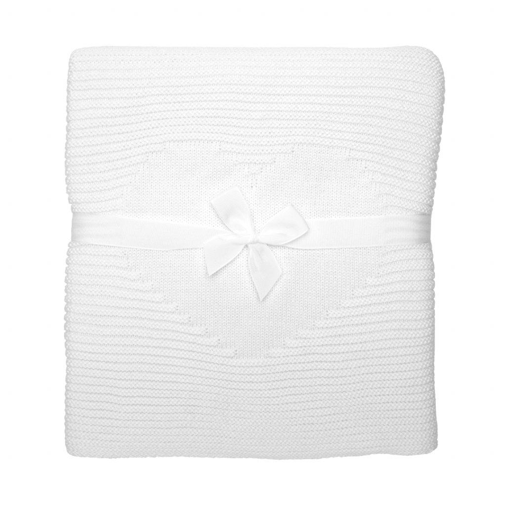 pletená deka do kočíka biela