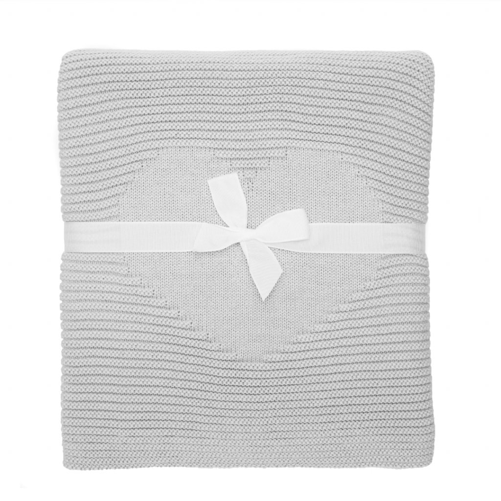 pletená detská deka sivá