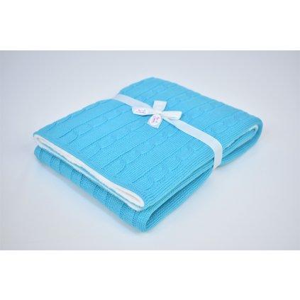 detská deka tyrkysová pletená