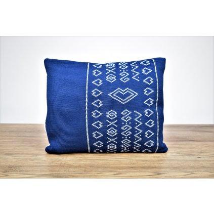 vankúšik do kočíka modrý pletený
