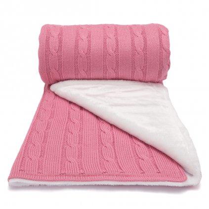 zimná deka do kočíka ružová