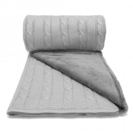 zimná detska deka do kočíka šedá