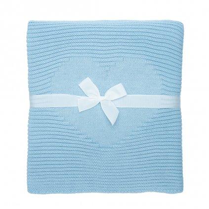 pletená detská deka do kočíka modrá
