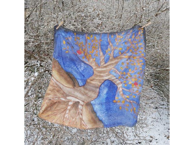 """Malovaný hedvábný šátek """"Podzimní noc"""""""