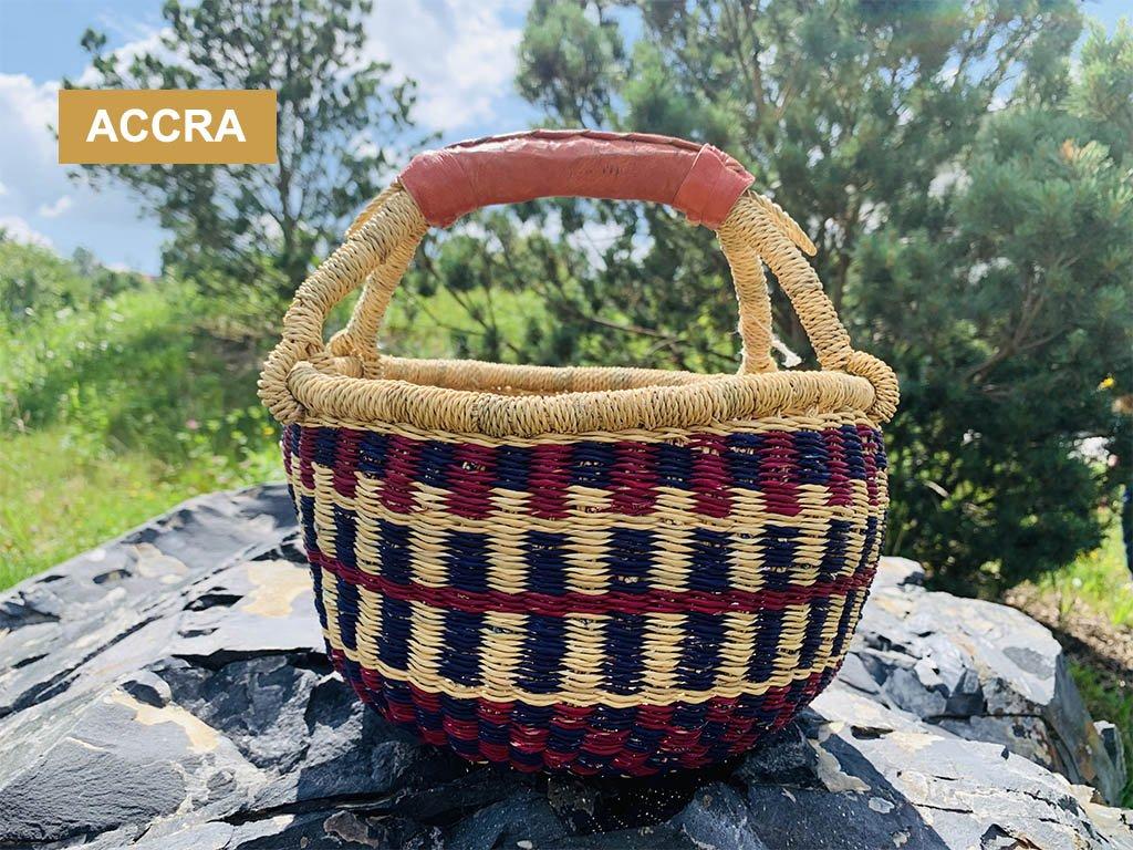 ACCRA ❤️ dětský kulatý koš Bolga z Ghany na hračky do pokojíku typu Montessori _ Ghana _ lupavkapse.cz