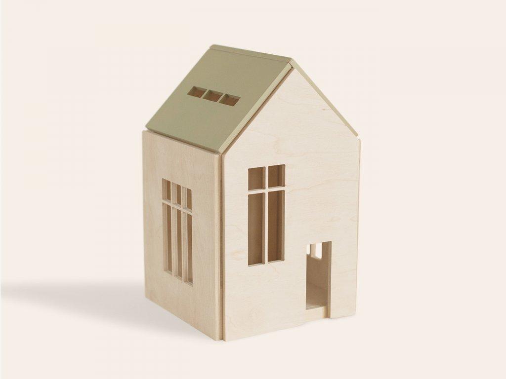 Dřevěný domeček pro panenky a obry (vel. L) KHAKI ❤️ Babai Toys _ Nejlepší kreativní hračky typu Montessori na rozvoj jemné motoriky dětí pro kluky a pro holky od 3 let, od 4 let, od 5 let _ lupavkapse.cz