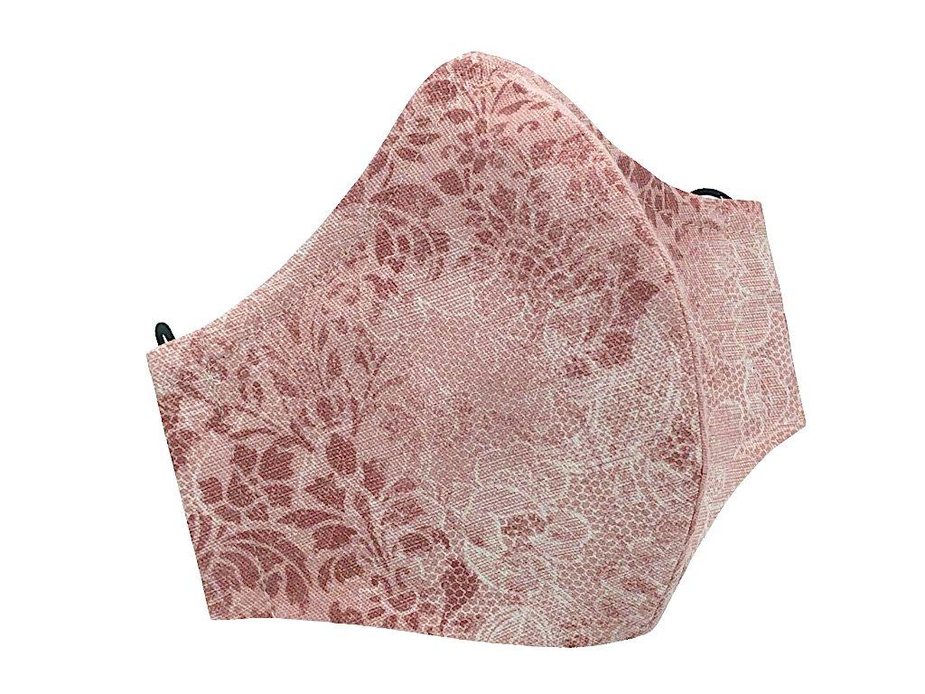 designová rouška pink s drátkem