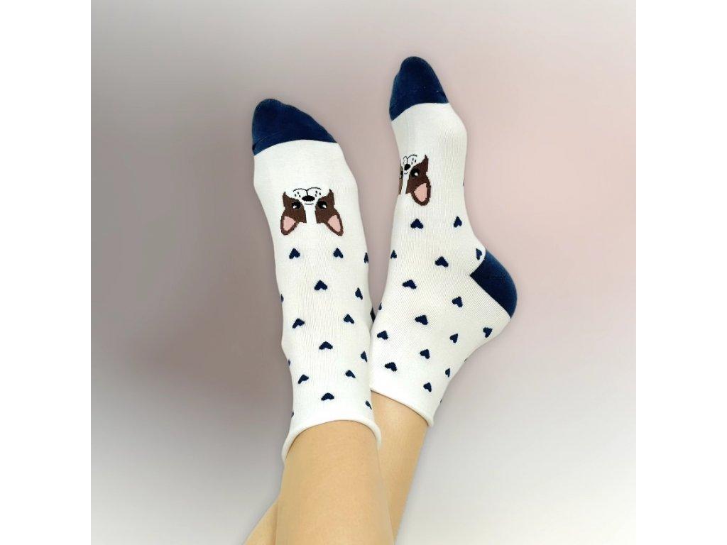 Veselé ponožky bílý buldoček 2