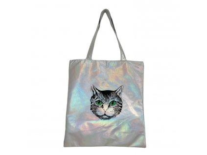 taška stříbrná kočka