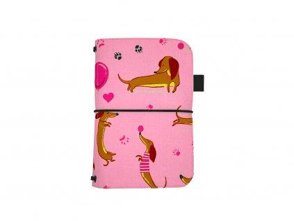 zápisník deník blok diář jezevčík růžová 1