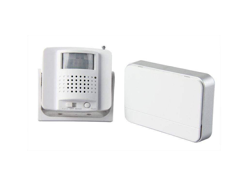 Bezdrátový hlásič pohybu gong, externí PIR čidlo, napájení ze zásuvky, bílý Solight 1D06