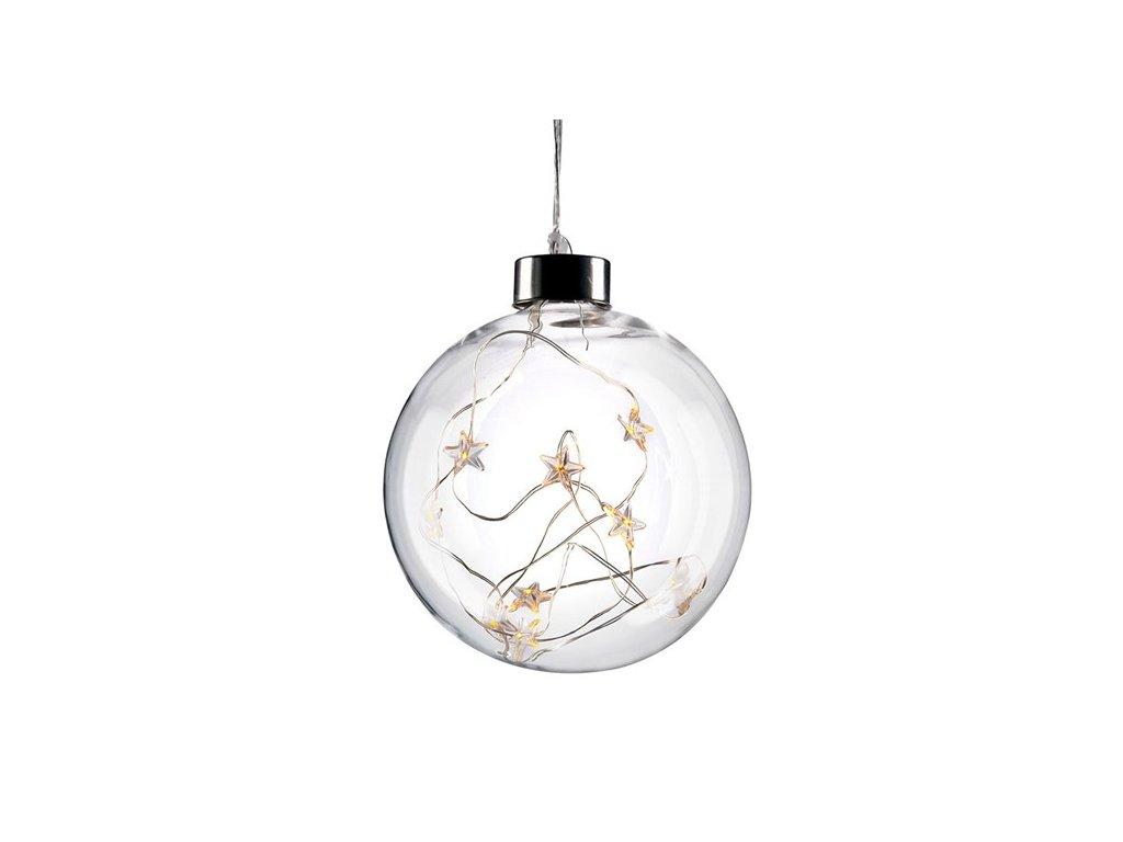 LED vánoční koule skleněná, 10LED, 2x AA, IP20  Solight 1V204