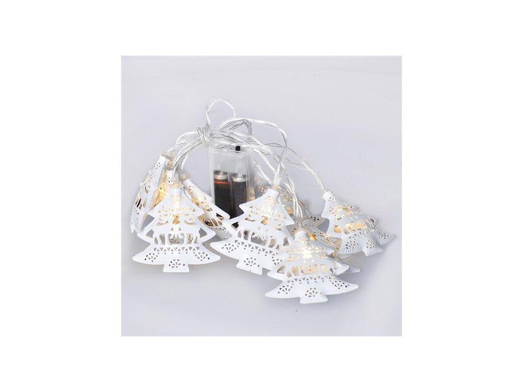 LED řetěz vánoční stromky, kovové, bílé, 10LED, 1m, 2x AA, IP20  Solight 1V225