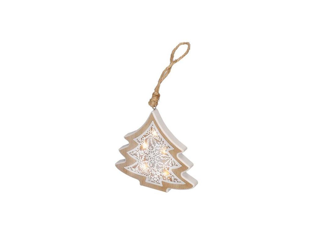 LED vánoční stromek, dřevěný dekor, 6LED, teplá bílá, 2x AAA Solight 1V45-T