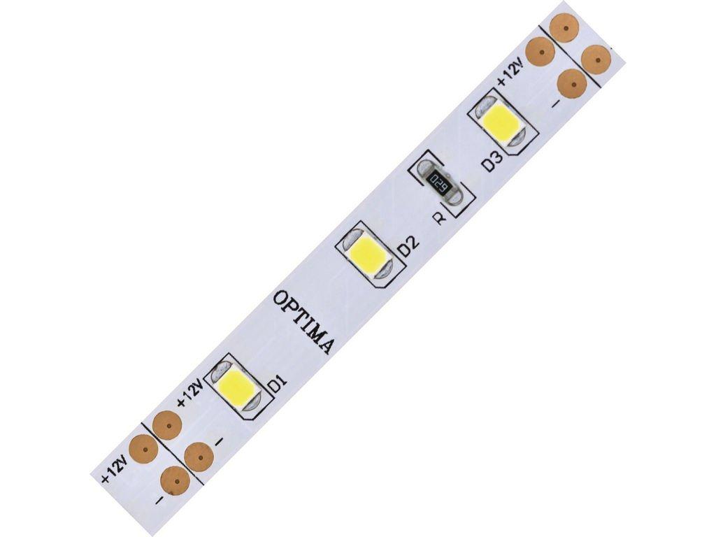 LED pásek 2835 60 Optima  1200lm 14,4W 1,2A 12V CRI>80 bílá studená 6000K