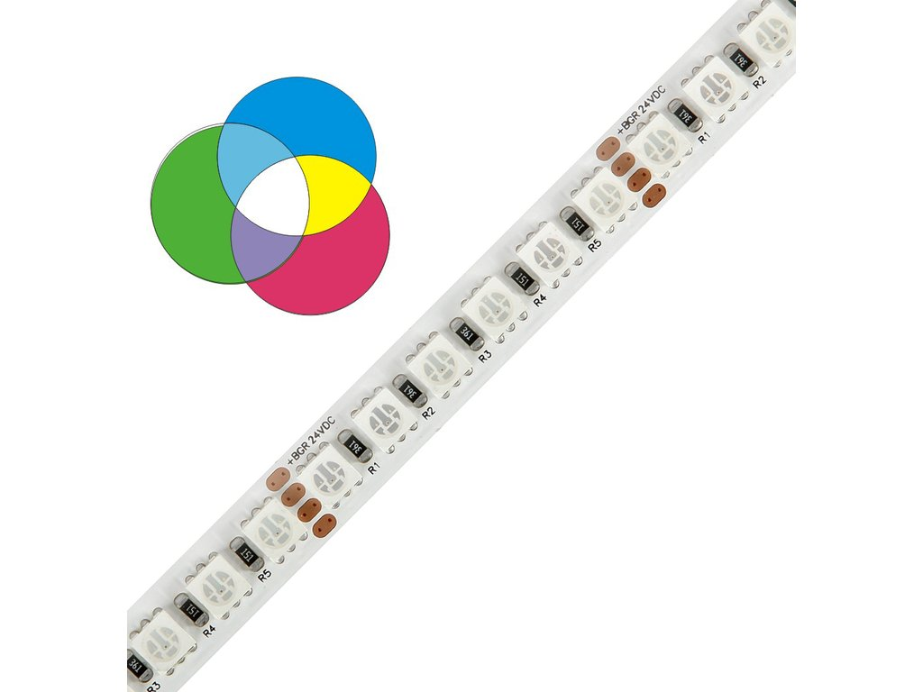 LED pásek barevný  RGB  5050 120, 28,8W 24V délka 1m