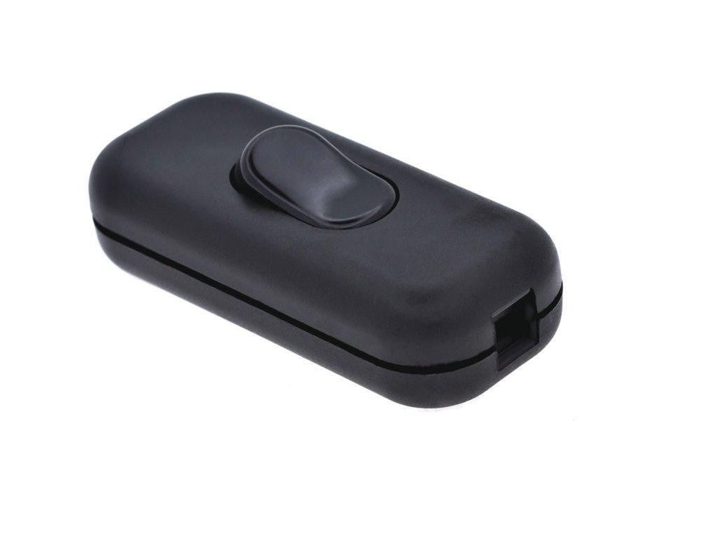Vypínač kolébkový šňůrový 230V, černý