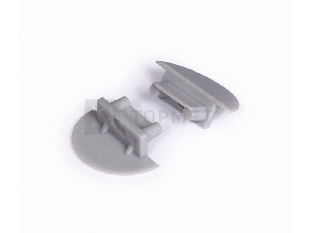 Koncovka BEGTIN12 šedá půlkulatá s otvorem pro kabel, pár Topmet