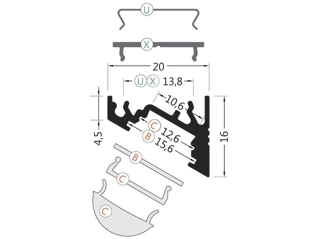 Hliníkový profil rohový 60 CORNER10 BC/UX černá anoda 1m Topmet