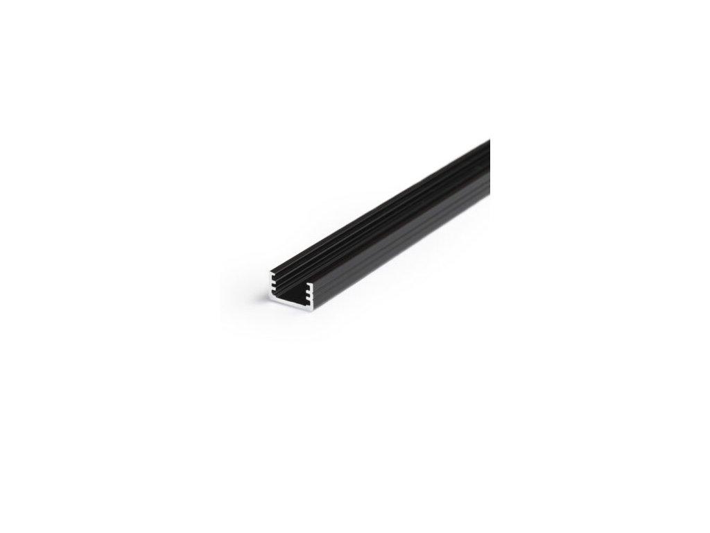 Hliníkový profil nástěnný 25 SLIM8 A/Z černá anod 1m Topmet