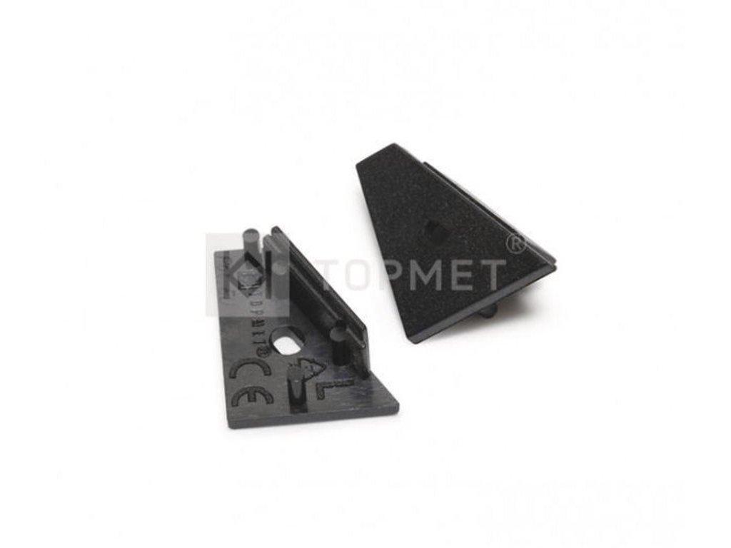 Koncovka CORNER14 černá s otvorem pro kabel, pár Topmet