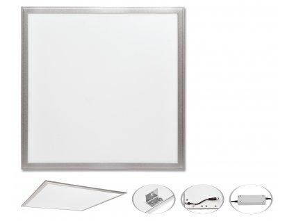 LED podhledový panel ZEUS stříbrný 60x60cm  45W 6000K  4400lm Ecolite LED-GPL44-45/6000