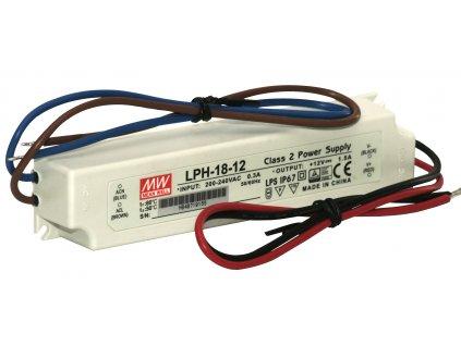 Zdroj napěťový LPH-18-12; 230VAC/50Hz/12V=/1,5A/18W mean well