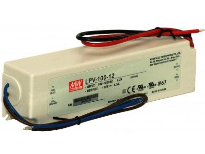 Zdroj napěťový LPV-100-12; 12Vdc, výstup 100W, max. proud 8,5A, IP67, 190x52x37