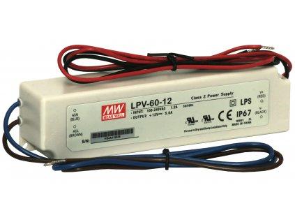 Zdroj napěťový LPV-60-12; 12V - 230VAC, 50Hz, 12V-5A, 60W, IP67 Mean Well