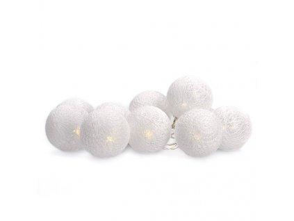 LED řetěz vánoční koule bavlněné, 10LED, 1m, 2x AA, IP20  Solight 1V201