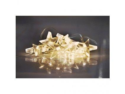 LED vánoční řetěz, hvězdy, 1,5m, 10 LED, 2 x AA, žluté světlo Solight 1V52-WW