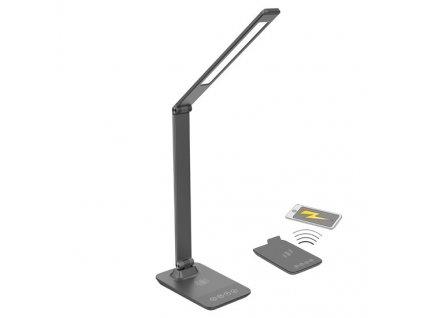 LED stmívatelná lampička s bezdrátovým nabíjením 10+5W, změna CCT, šedá Solight WO55-G