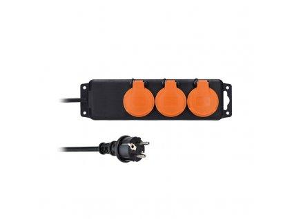 Solight prodlužovací přívod IP44, 3 zásuvky, gumový kabel, venkovní, 5m