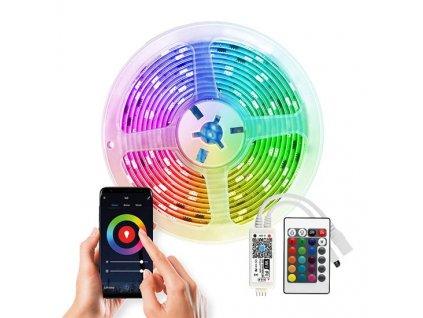 Wifi Smart LED světelný pás, RGB, 5m, sada s 12V adaptérem a dálk. ovladačem, 7,2W