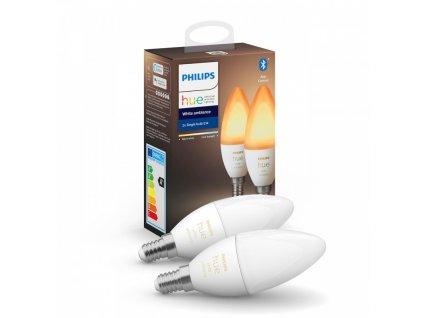 Hue White Ambiance Bluetooth LED žárovka E14 set 2ks 8718699726355 2x6W 2x470lm 2200-6500K