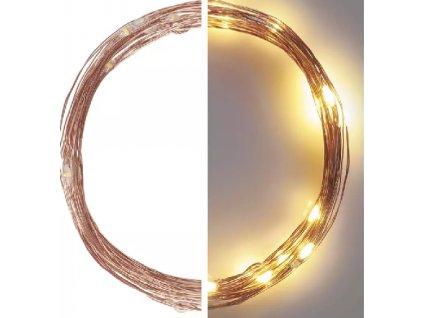 LED vánoční nano řetěz měděný, 4 m, venkovní i vnitřní, teplá bílá, časovač