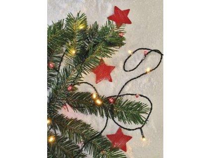 LED vánoční řetěz pulzující, 12 m, venkovní i vnitřní, vintage/červená, časovač