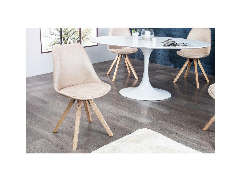 Designová jídelní židle Sara, béžová L 01