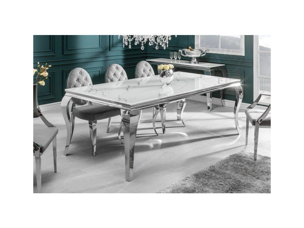 Barokní jídelní stůl Dylan, stříbrný 180cm 01