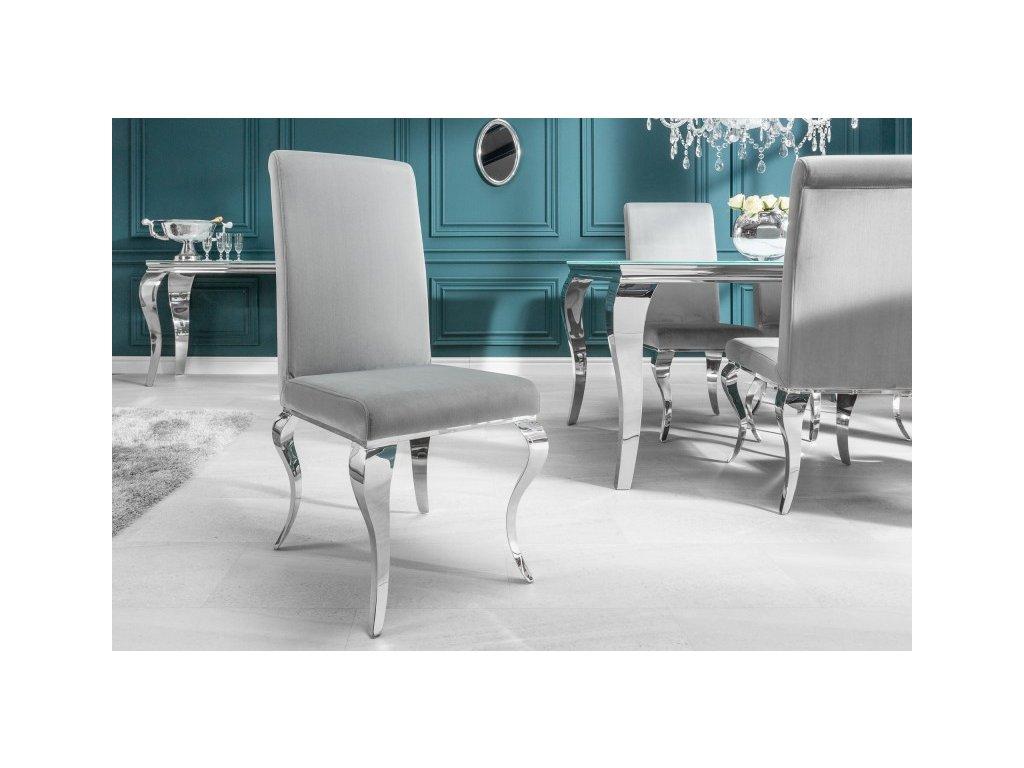 Barokní jídelní židle Andrea, šedá 01