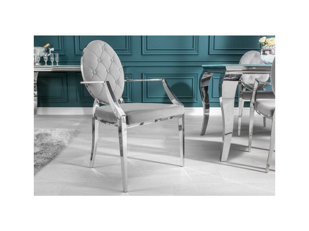 Barokní jídelní židle Anita 2, šedá 01