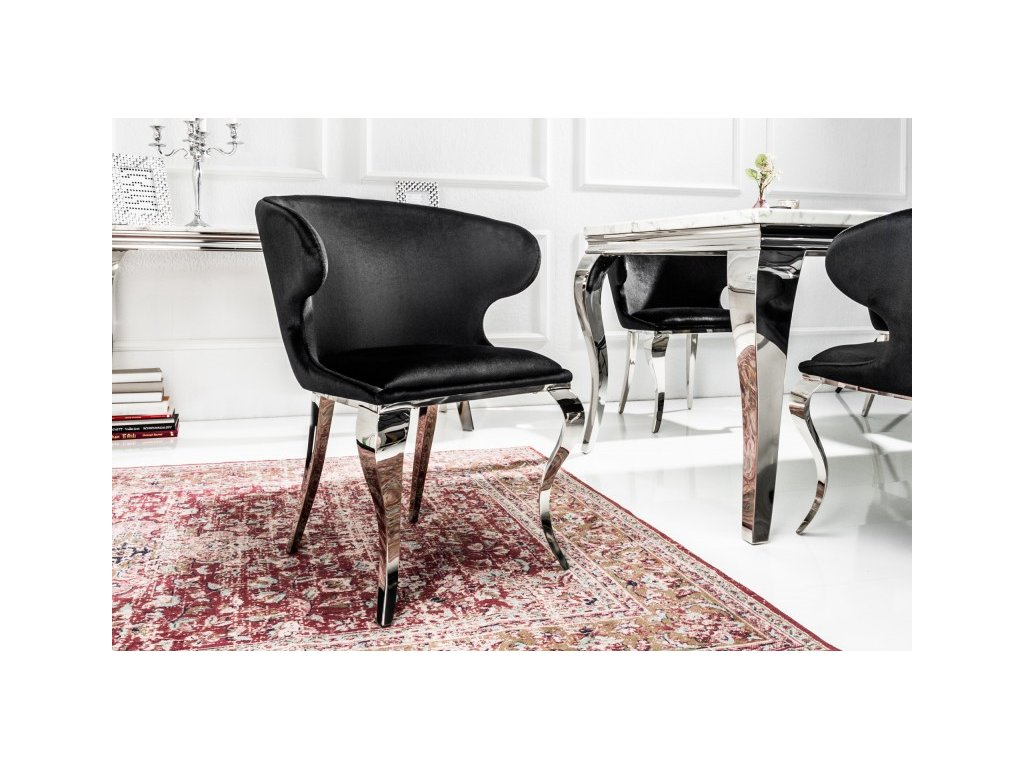 Barokní jídelní židle Anjana, černá 01