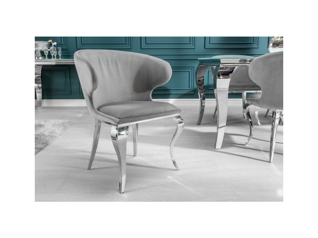Barokní jídelní židle Anjana, šedá 01