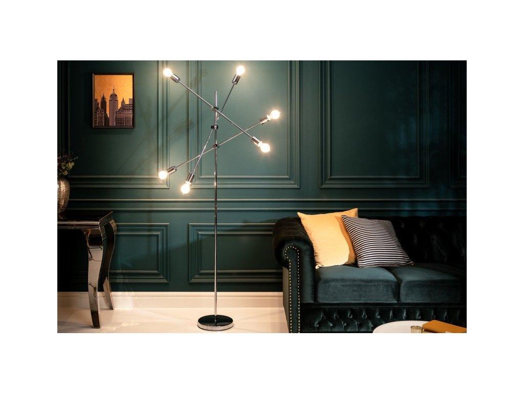 Luxusní stojací lampa Deborah, stříbrná 01