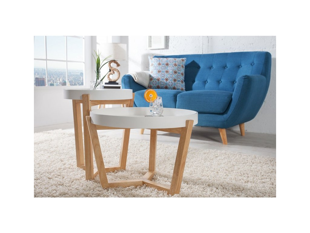 Luxusní konferenční stolek Calvin, bílý 01
