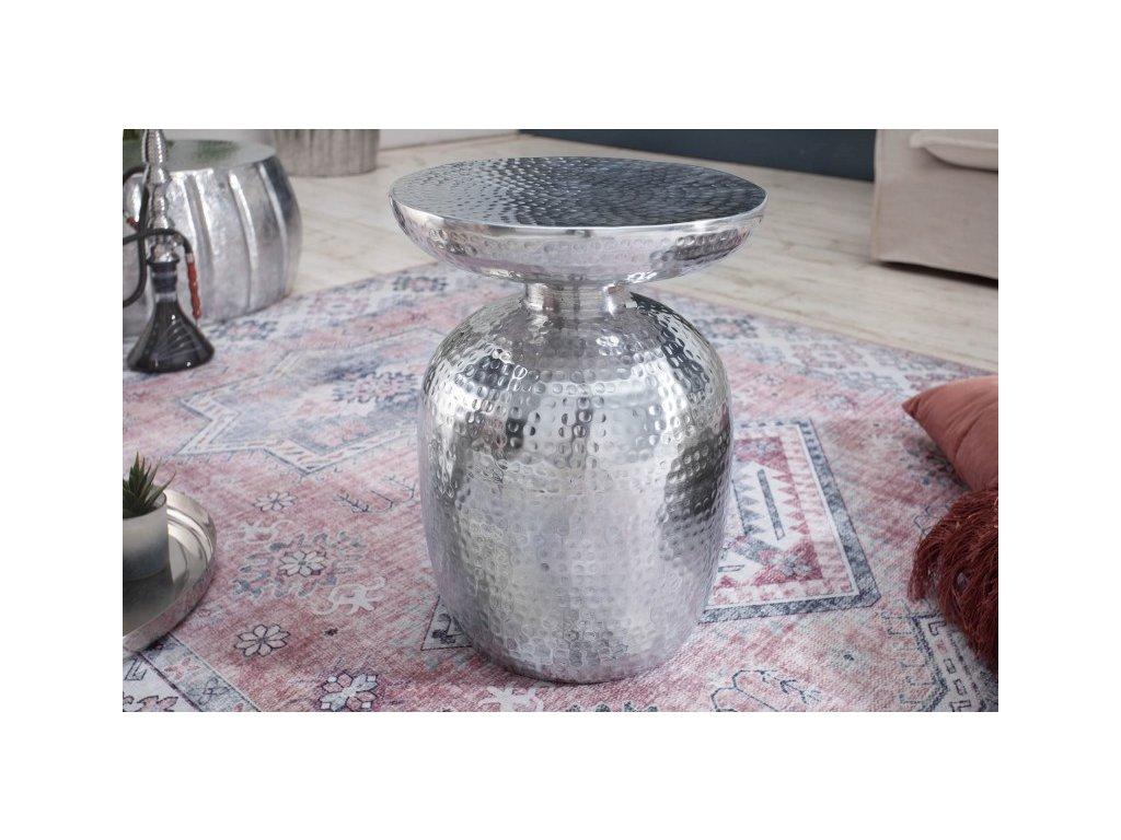 Luxusní konferenční stolek Carter, stříbrný 01