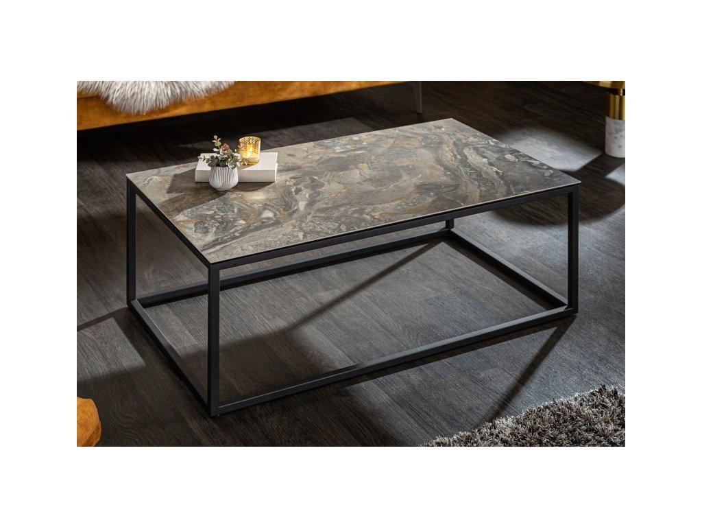 Designový konferenční stolek Dhani, mramorový vzhled 01