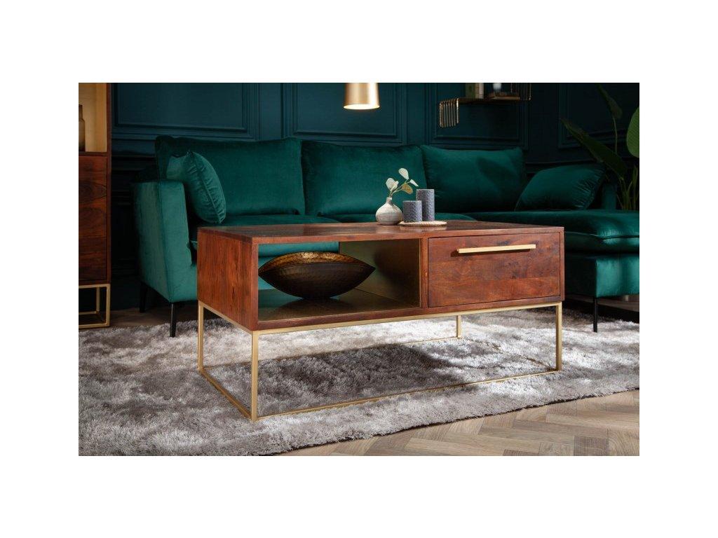 Masivní konferenční stolek Dominic, hnědý 01