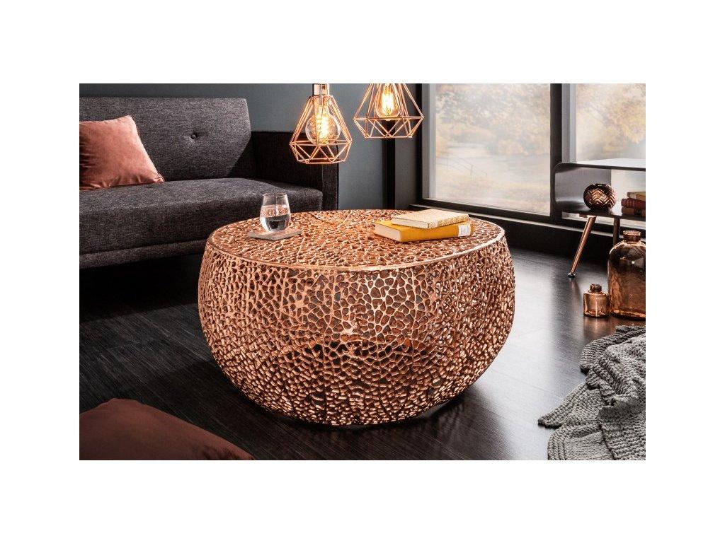 Designový konferenční stolek Frazer, měděný 01