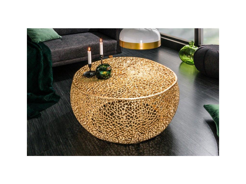Designový konferenční stolek Frazer, zlatý 01